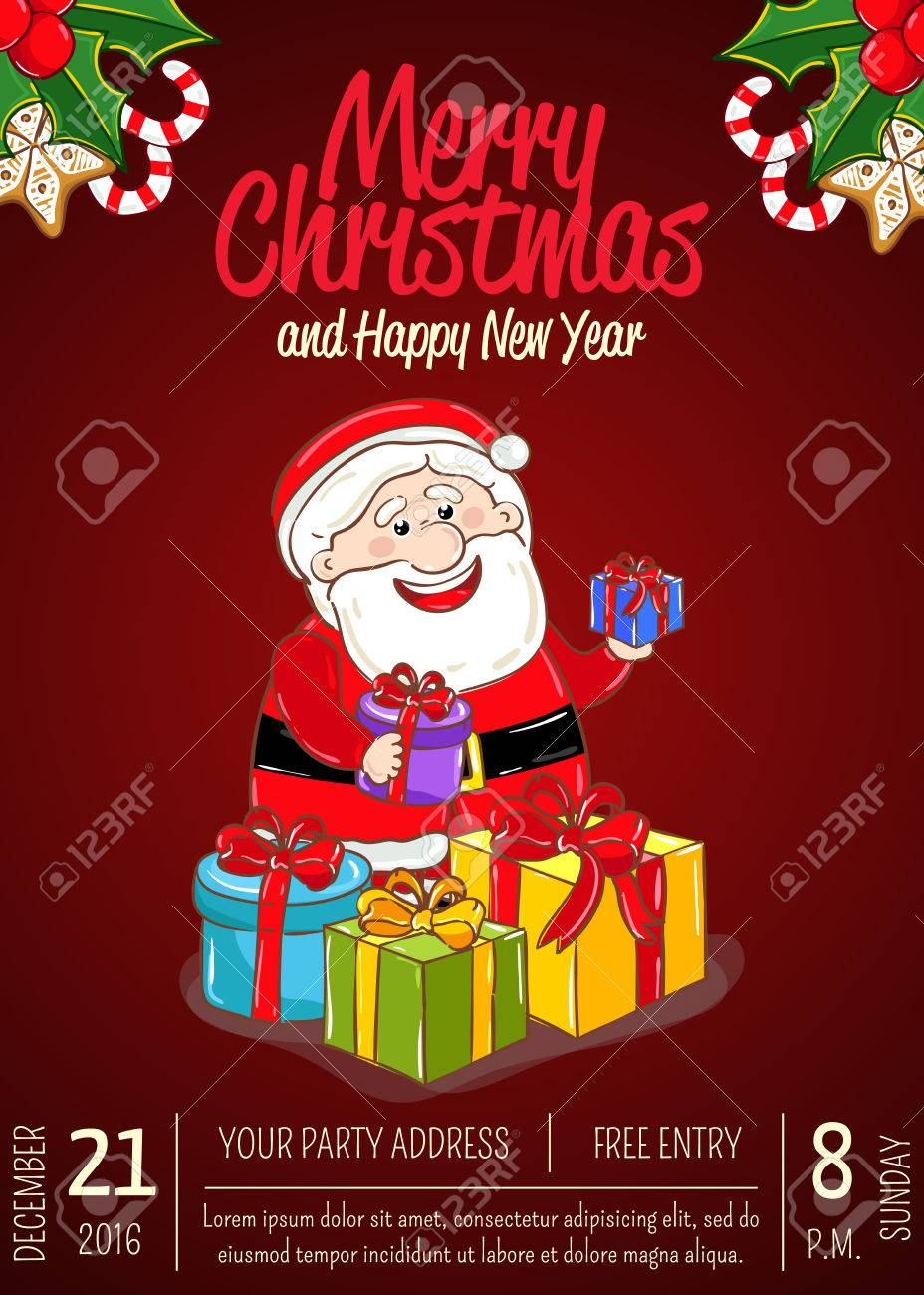 Christmas Party Time Images.Christmas Party Promo Poster With Date And Time Cheerful Santa