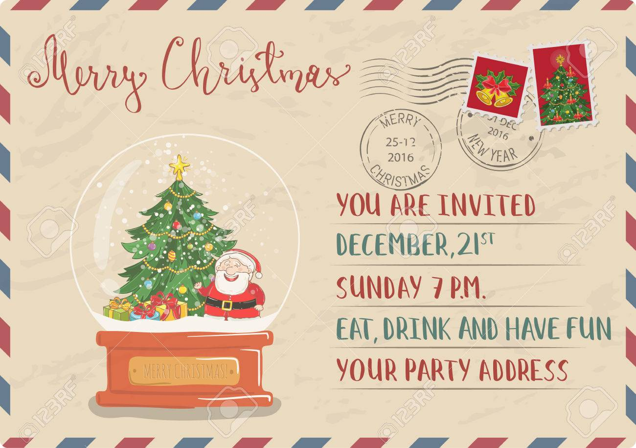 Vintage Christmas Postcard With Postal Stamps. Snow Globe With ...