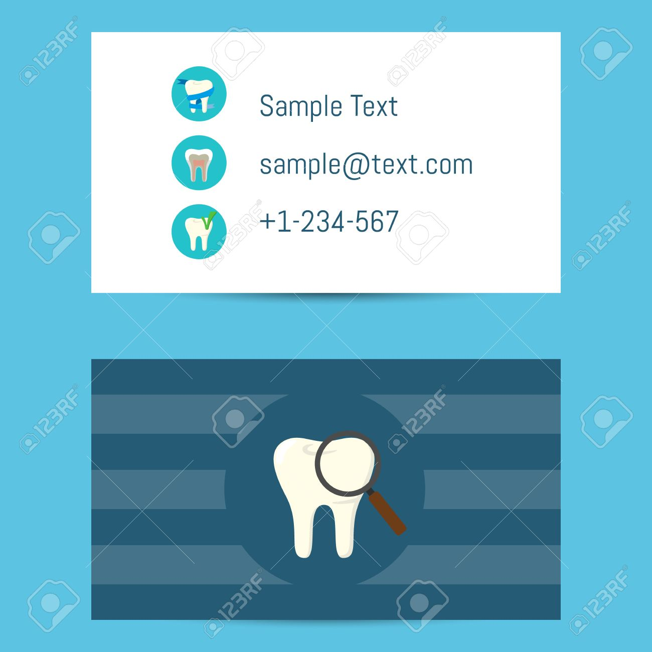 Professional business card template for dentists with tooth symbol professional business card template for dentists with tooth symbol with magnifier on blue background illustration accmission Images