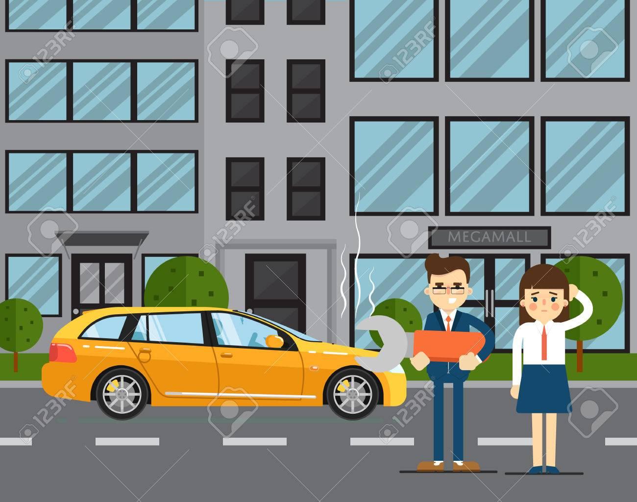 Auto Plagt Konzept Mit Den Menschen Paar Auf Der Straße Abbildung In ...