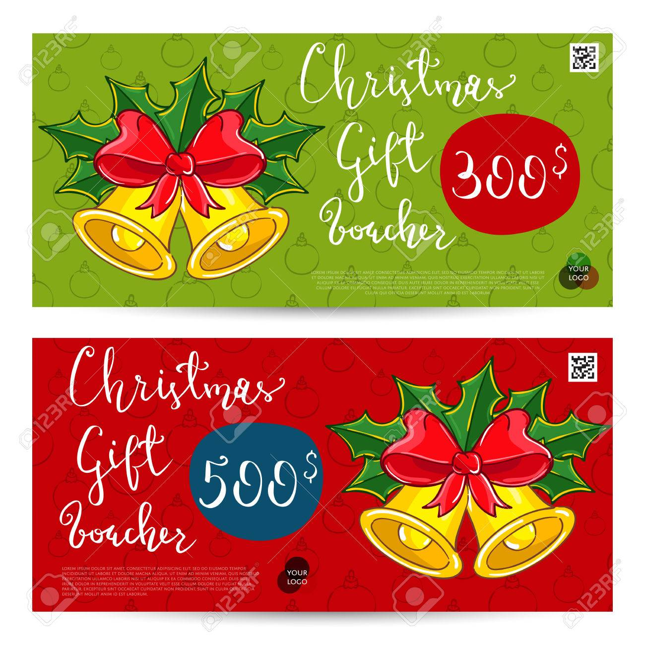 Christmas Gift Voucher Template Gift Coupon With Xmas Attributes