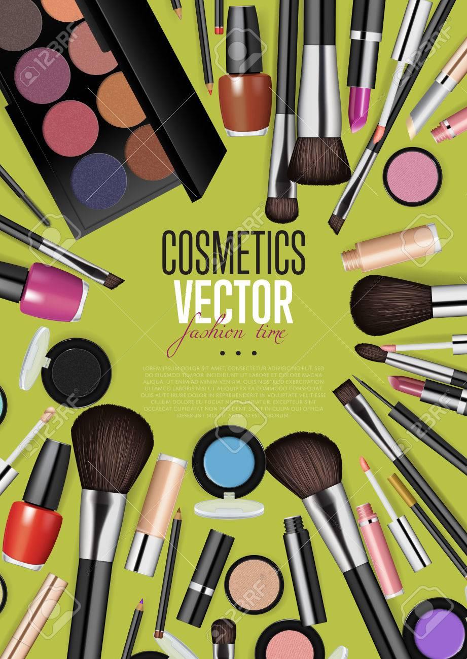 Productos Cosméticos, Maquillaje De Moda De La Bandera. Pinceles ...