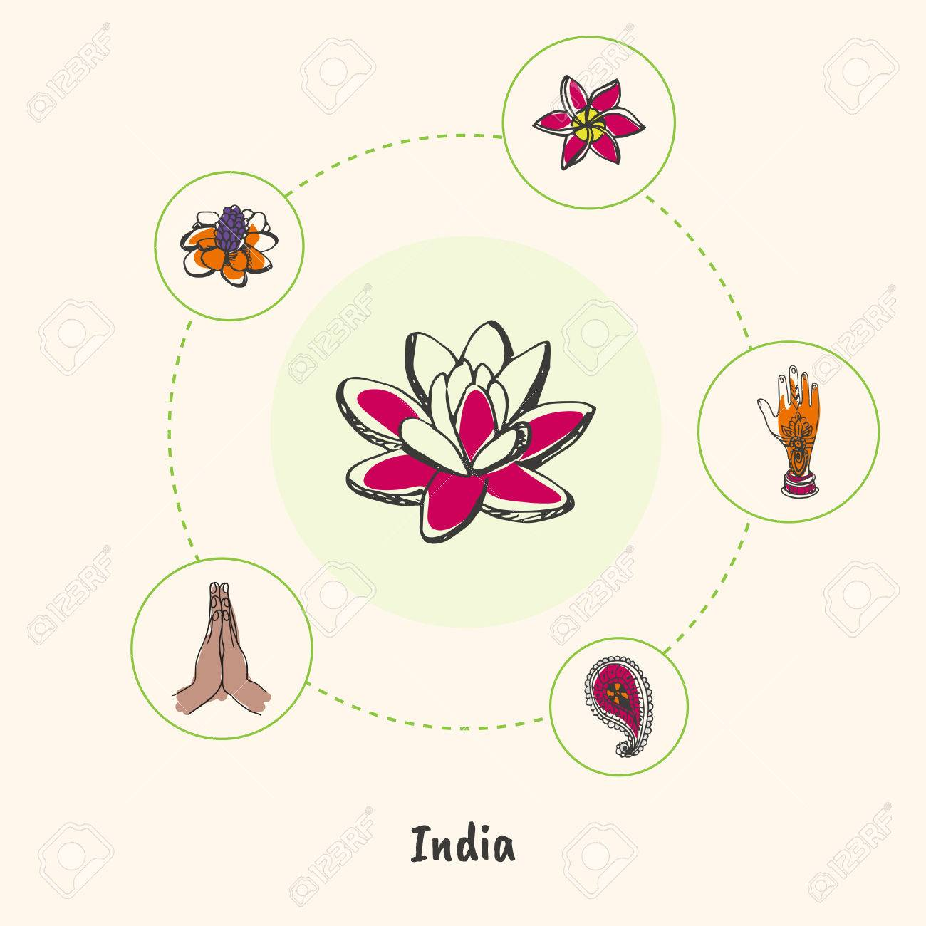 Attractive India Lotus Flower Colorized Doodle Surrounded Folded