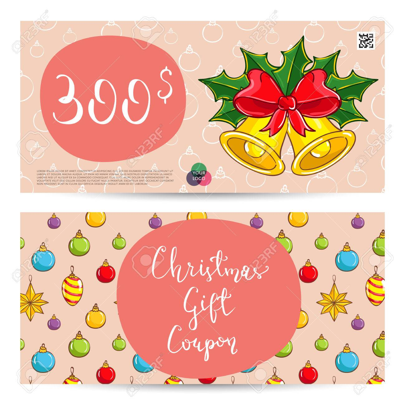 christmas gift voucher template gift coupon with xmas attributes and prepaid sum christmas bells - Christmas Gift Certificate Template