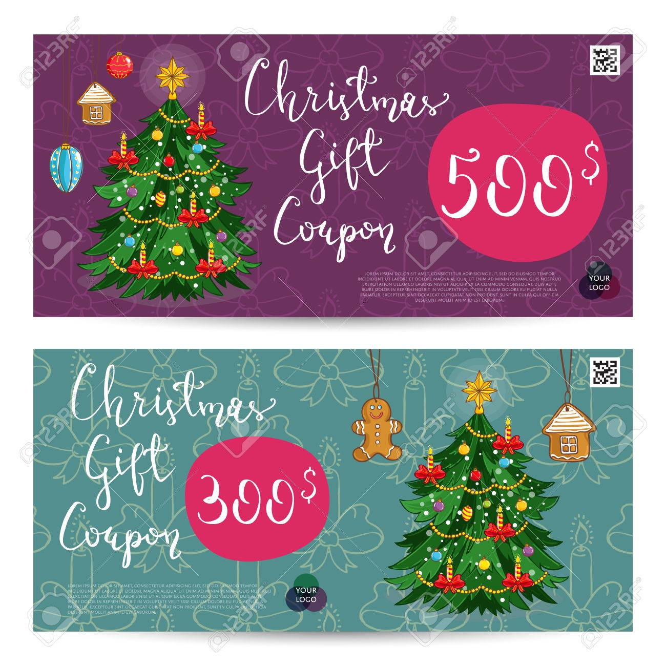 Christmas Gift Voucher Template. Gift Coupon With Xmas Attributes And  Prepaid Sum. Wrapped Gifts
