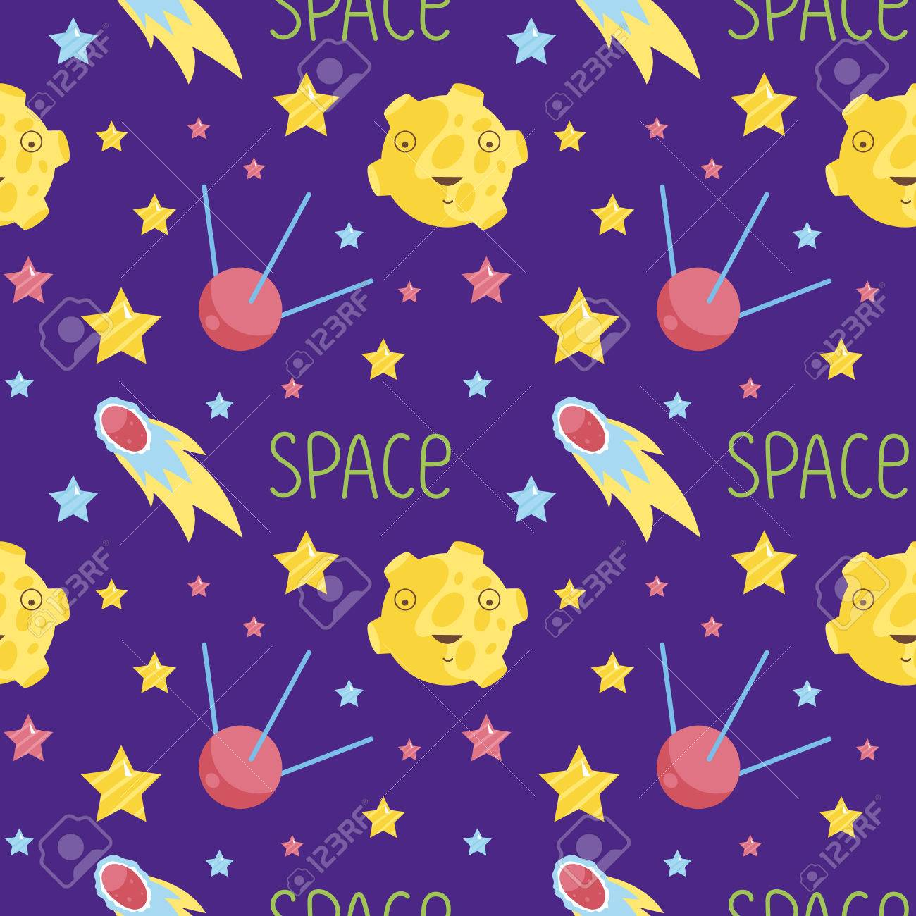 Dibujos Animados Del Espacio Exterior Patrón Transparente. Luna ...