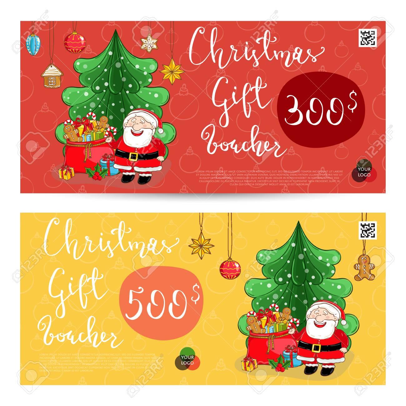 Christmas gift voucher template gift coupon with xmas attributes christmas gift voucher template gift coupon with xmas attributes and prepaid sum santa yadclub Choice Image