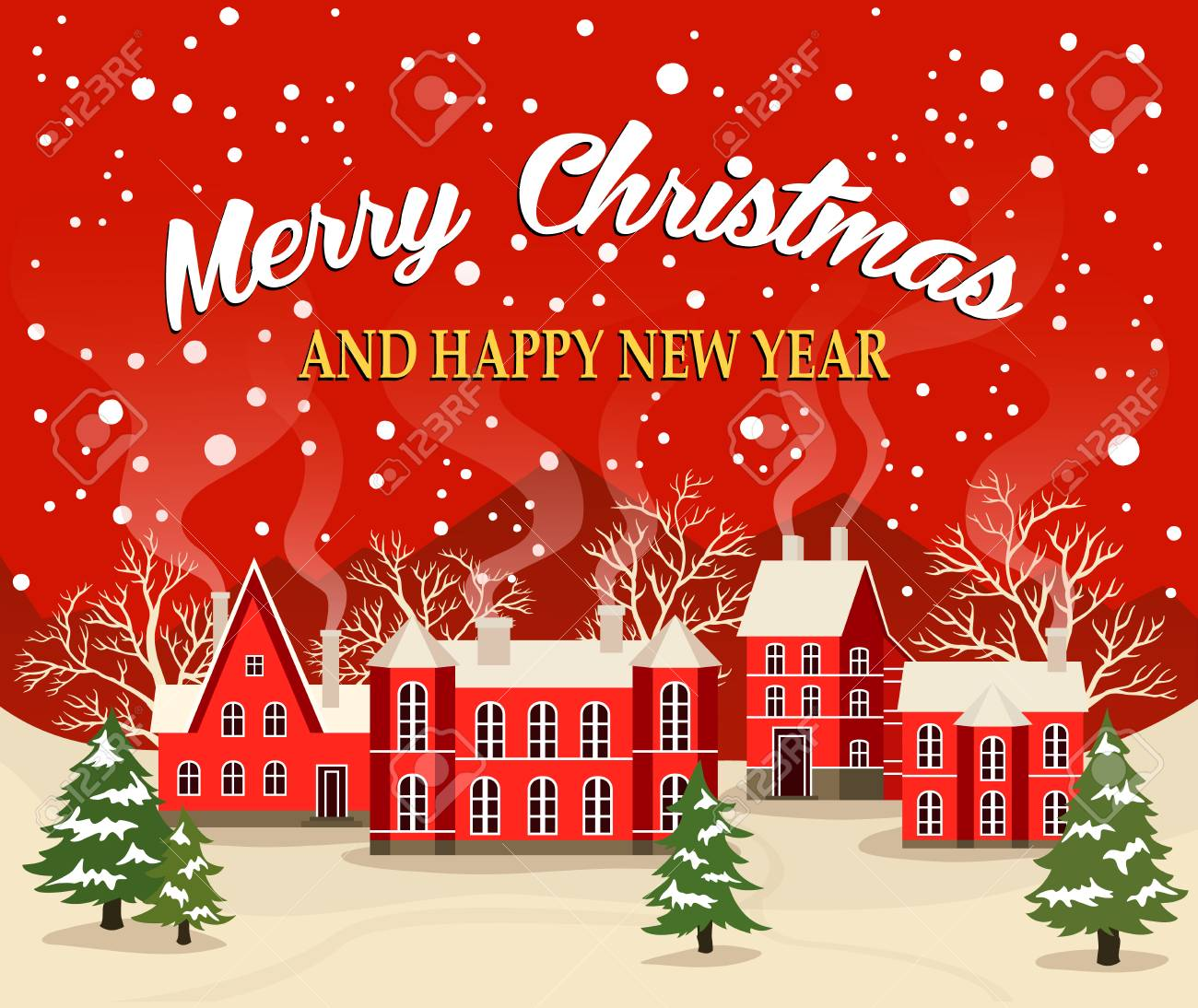 Marry christmas and happy new year greeting card illustration marry christmas and happy new year greeting card illustration xmas poster with red brick christmas kristyandbryce Image collections