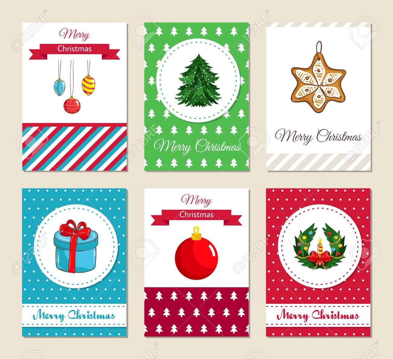Tarjetas De Felicitación De Navidad Y Invitaciones De La Fiesta De Navidad Conjunto Colorido Conceptos Feliz Navidad Y Feliz Año Nuevo Con El árbol