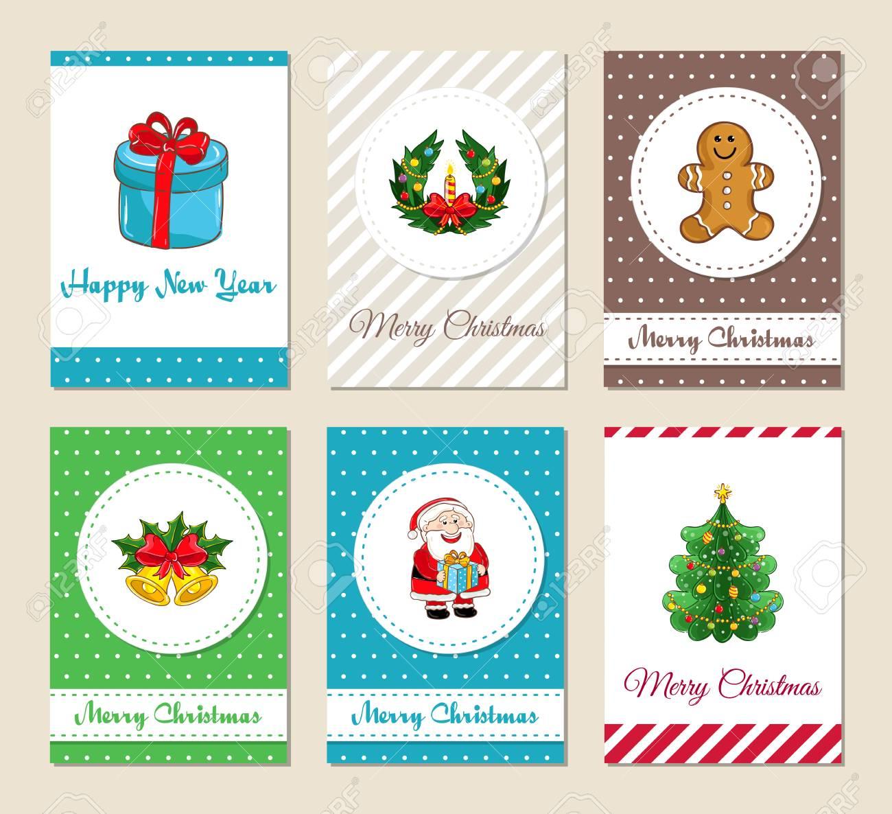 Tarjetas De Felicitación De Navidad E Invitaciones De Fiesta De Navidad Coloridos Conceptos De Feliz Navidad Y Feliz Año Nuevo Con Santa Regalo