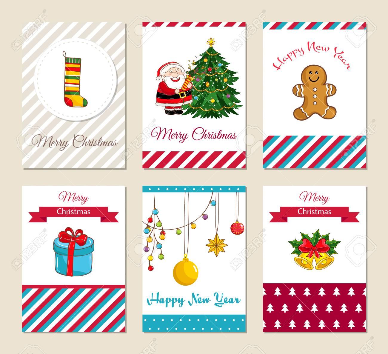 Tarjetas De Felicitación De Navidad E Invitaciones De Fiesta De Navidad Coloridos Conceptos De Feliz Navidad Y Feliz Año Nuevo Con Calcetín Regalo