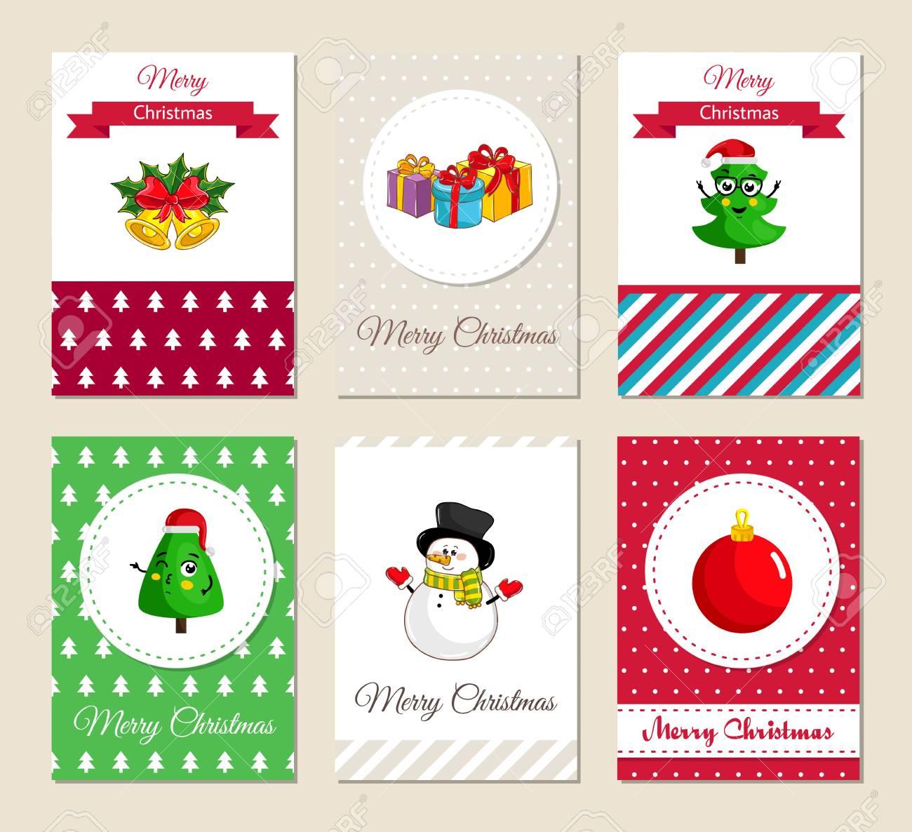 Tarjetas De Felicitación De Navidad Y Invitaciones De La Fiesta De Navidad Conjunto Colorido Conceptos Feliz Navidad Y Feliz Año Nuevo Con Los