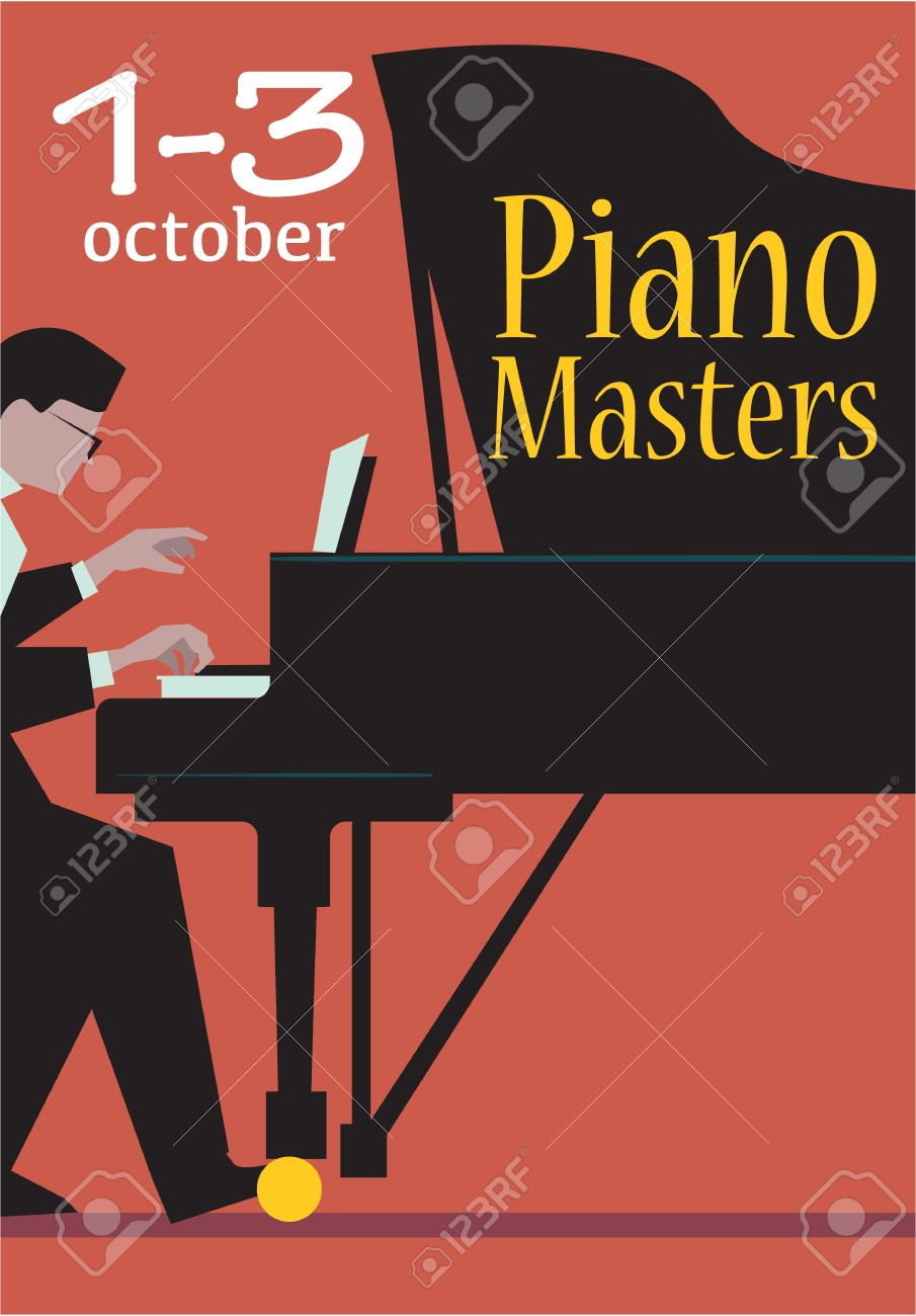 Live Concert Of Piano Masters Poster With Date Pianist Plays The Grand Illustration
