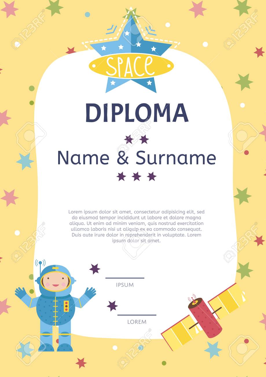 diploma cartoon template spaceship stars planets comets