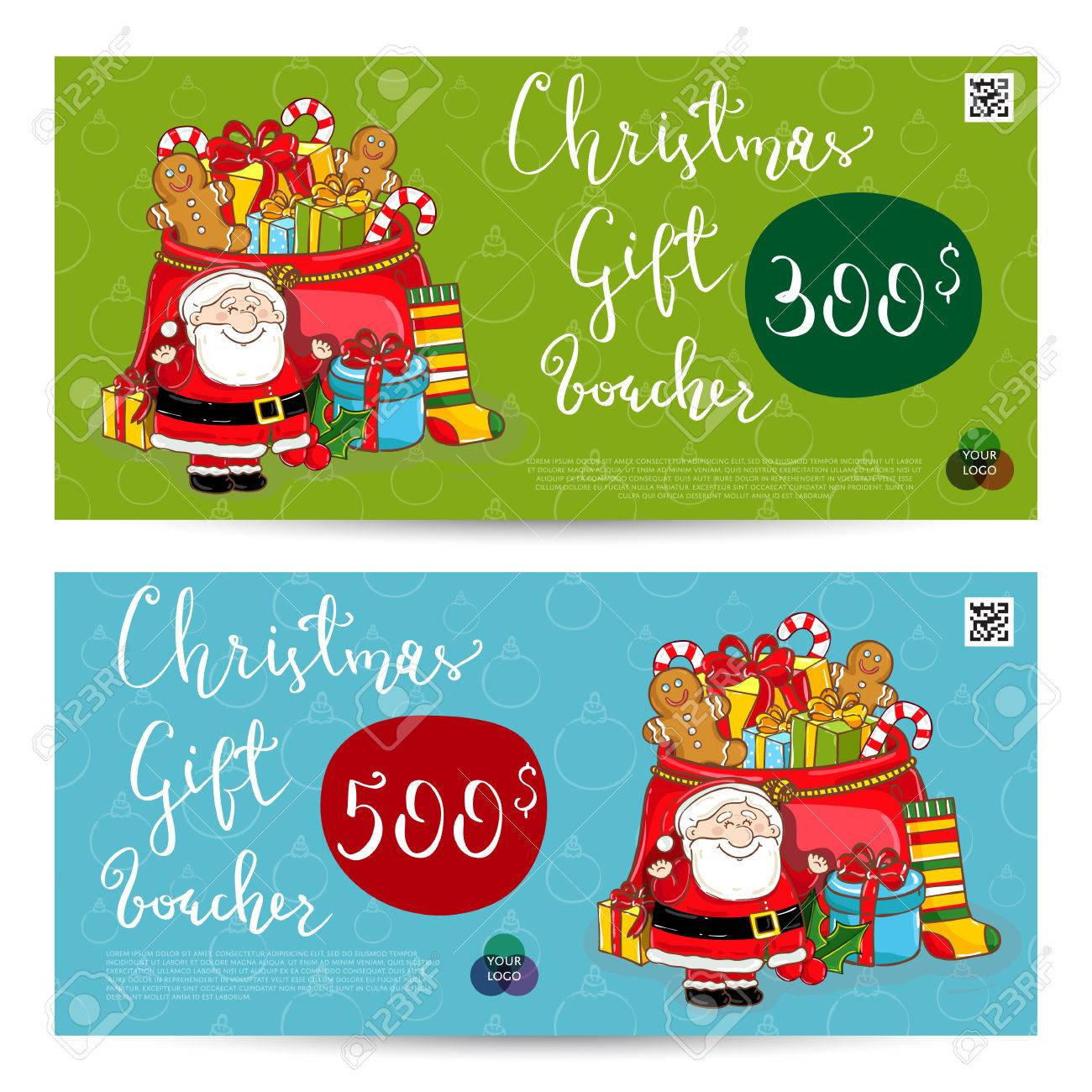 Christmas Gift Voucher Template. Gift Coupon With Xmas Attributes And  Prepaid Sum. Santa,  Christmas Gift Vouchers Templates