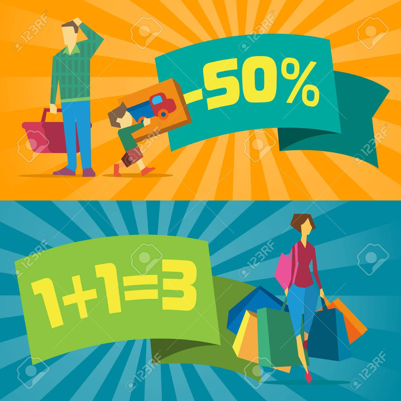 Venta De Pancartas Con La Gente De Compras Ilustración Vectorial ...