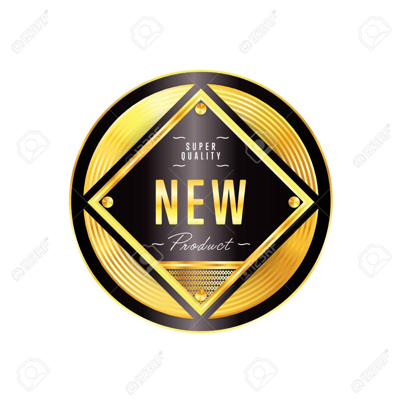 Gold Badge With Black Text Vector Isolated Royalty Free Cliparts