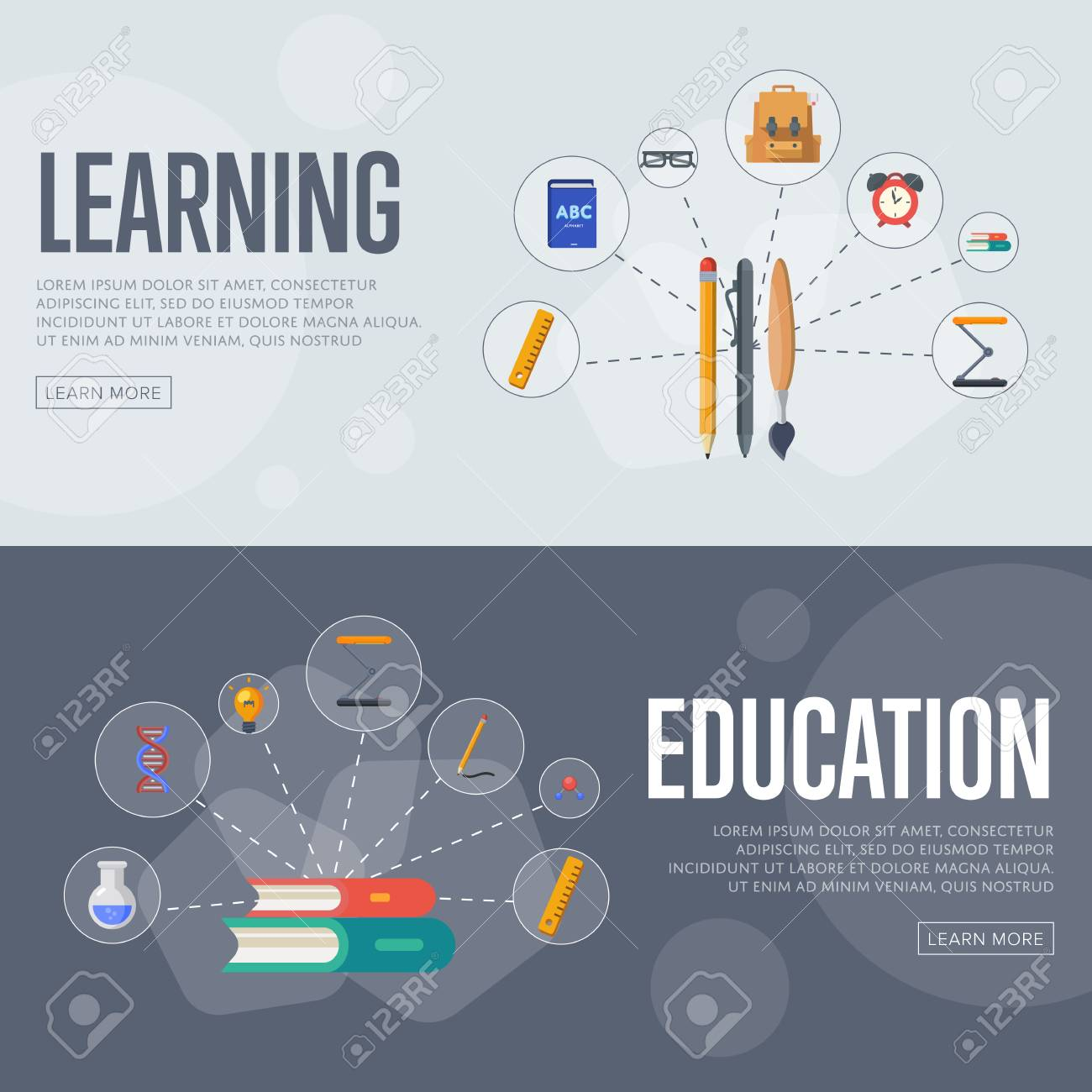 Banners Of Education And Learning Infographics Concept Icons Stock Photo Picture And Royalty Free Image Image 72981027