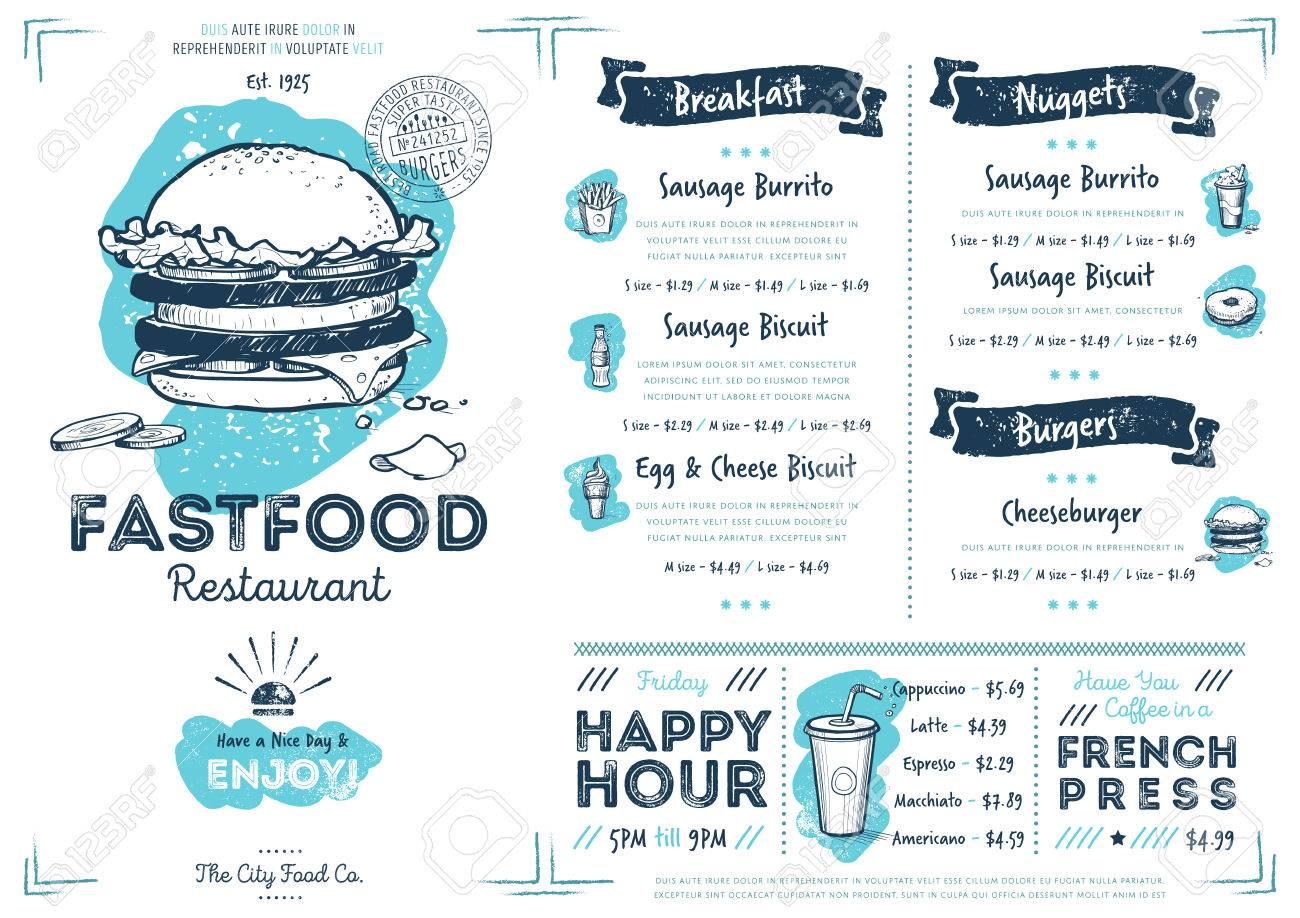 Restaurant fast food cafe menu template flyer vintage design stock illustration restaurant fast food cafe menu template flyer vintage design raster illustration maxwellsz