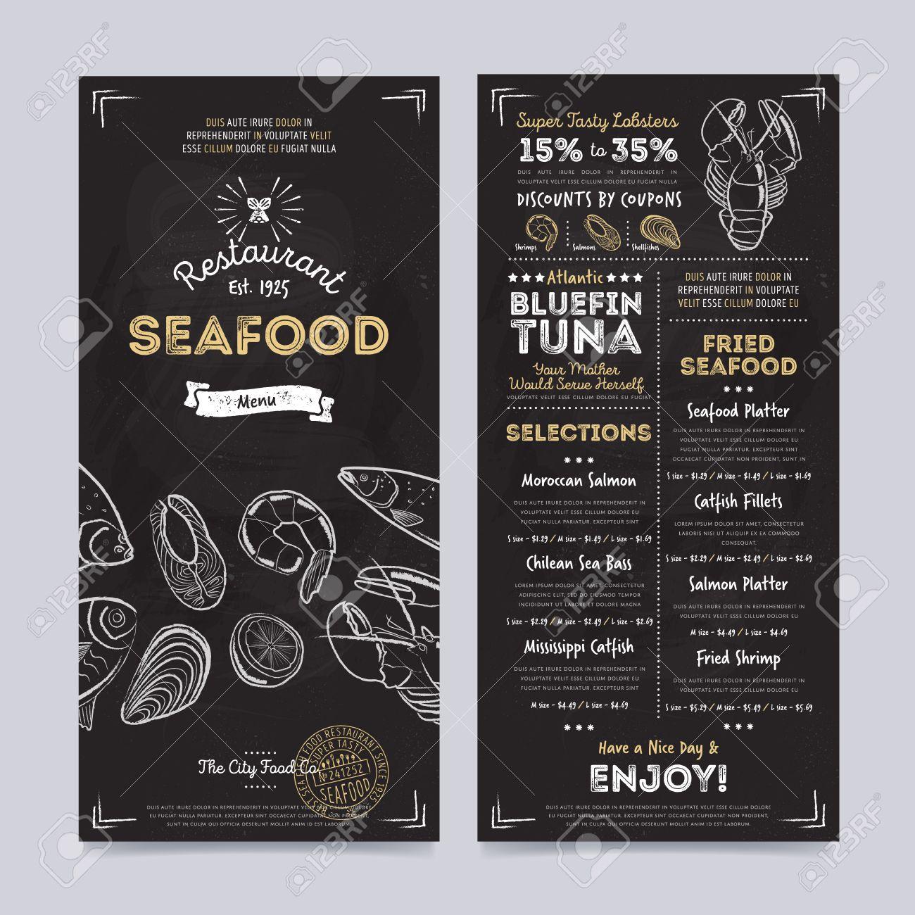 seafood restaurant cafe menu template design on chalkboard