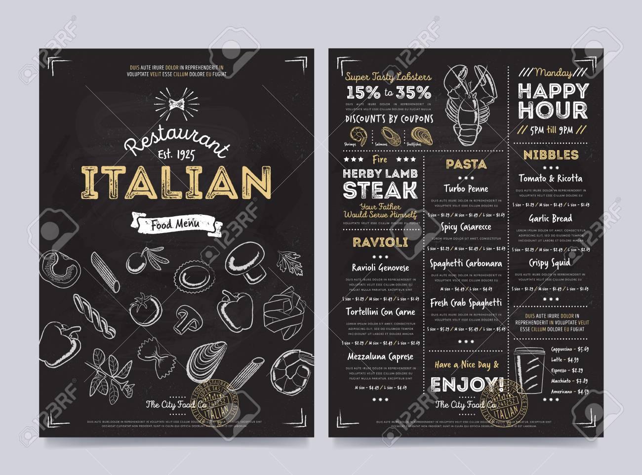 italian restaurant cafe menu template design on chalkboard
