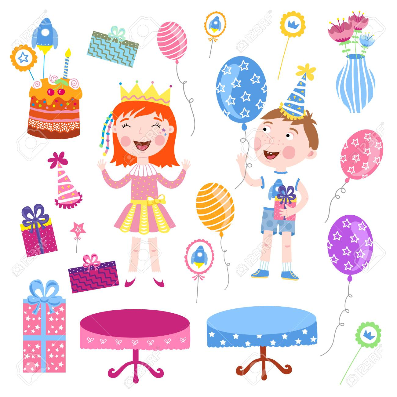Joyeux Anniversaire Enfants Modele De Carte Postale Raster Illustration De Vacances Banque D Images Et Photos Libres De Droits Image 72980061