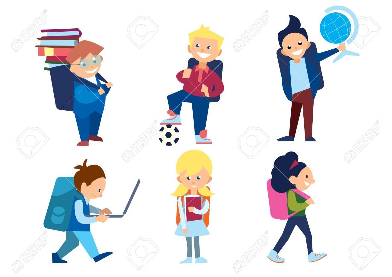 d30799bceb6 Establecen pequeños niños en edad escolar. Colegiales y colegialas con  mochilas y otros artículos escolares
