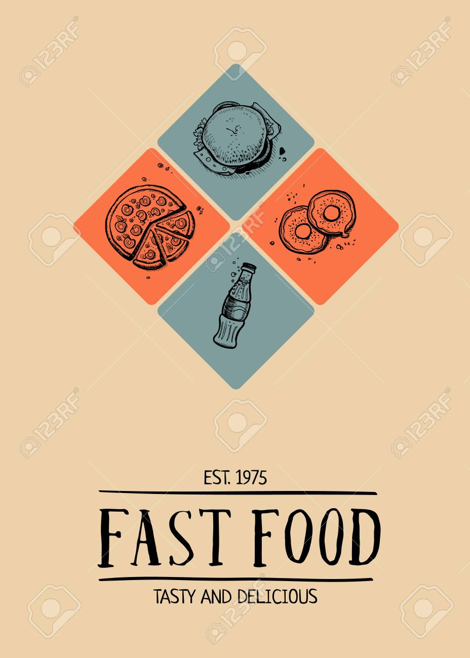 fast food cafe menu cover design royalty free cliparts, vectors, and