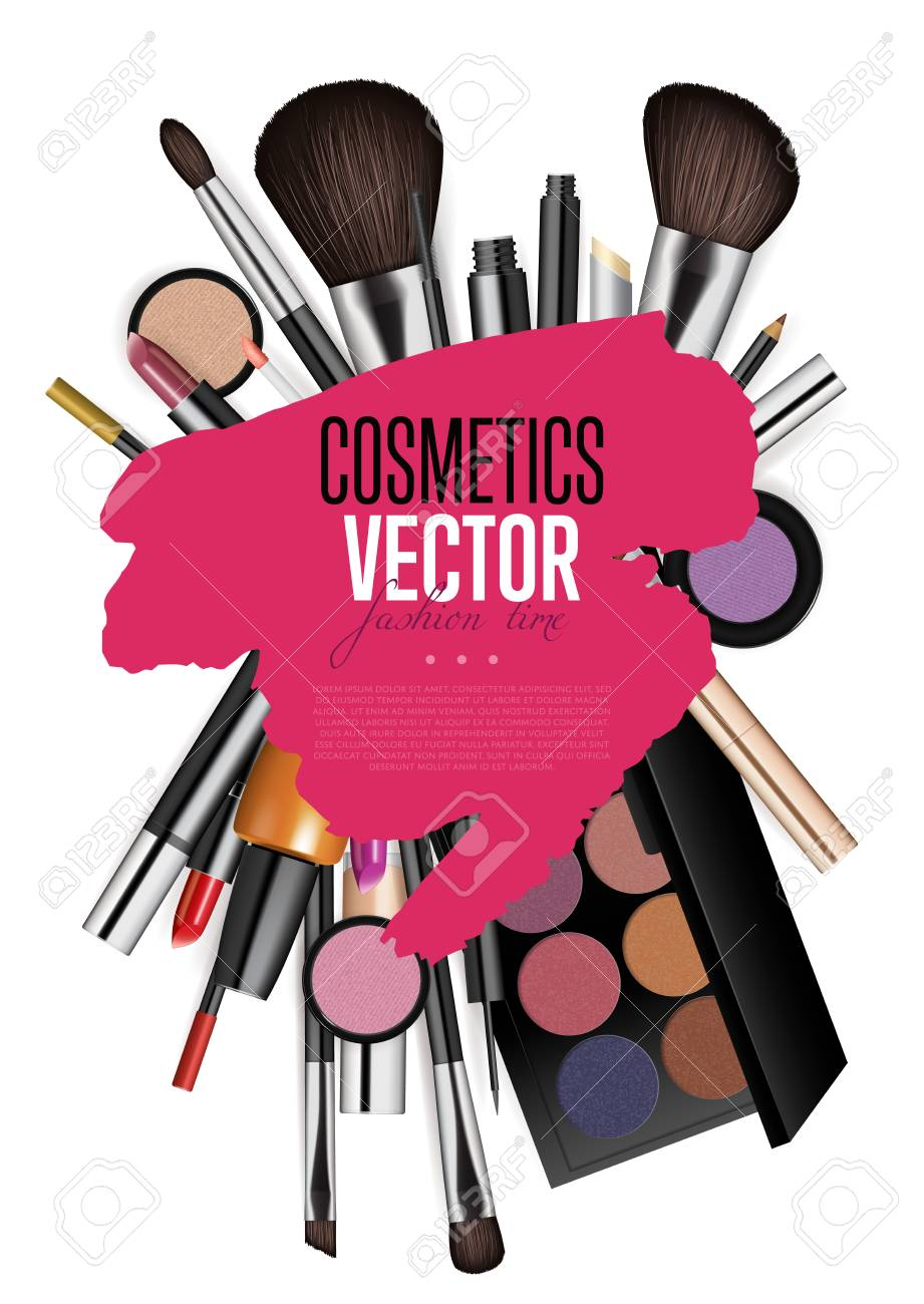 Cosmetics products, fashion makeup banner. Stock Vector - 79625345