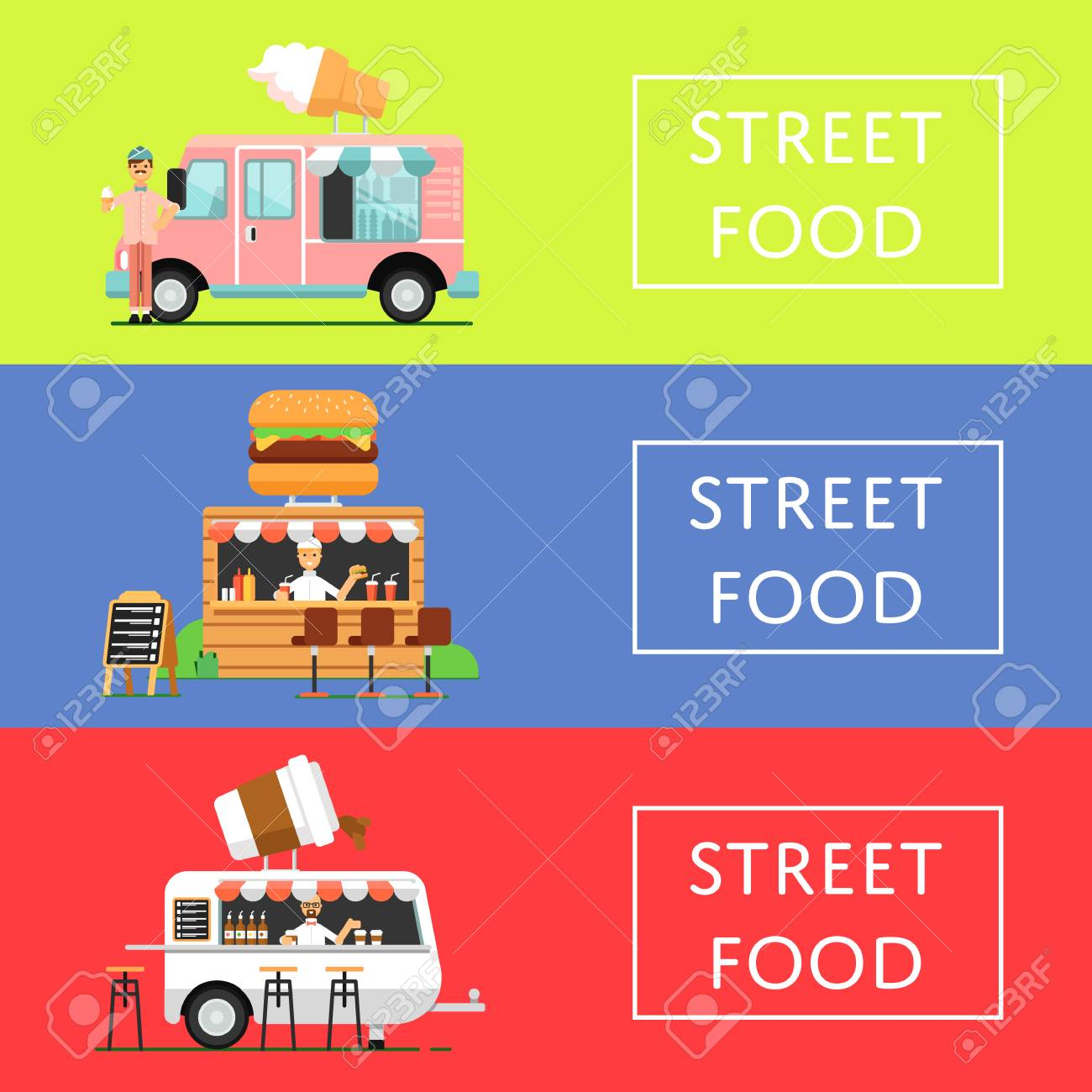 street food festival flyers set in flat style culinary city
