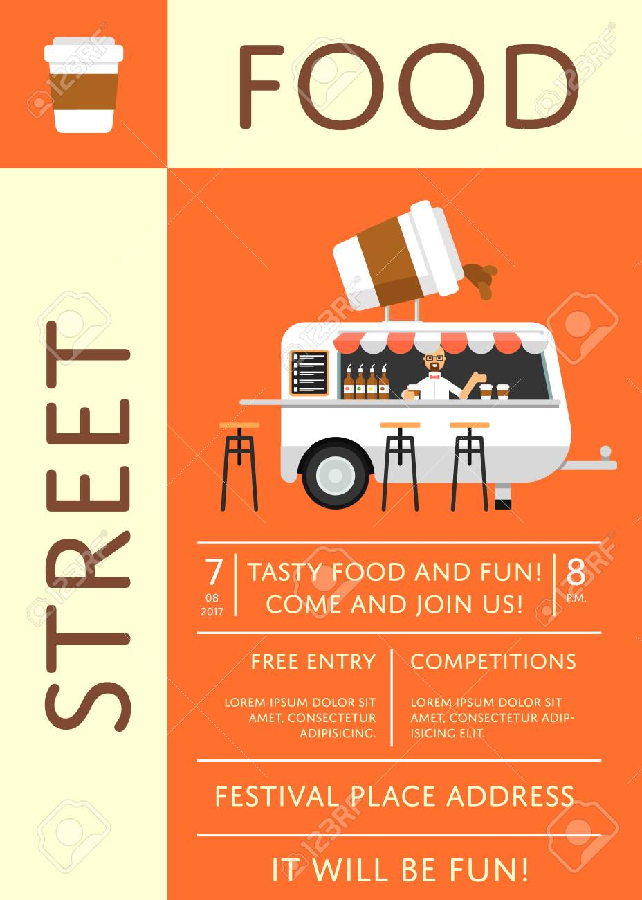 Street food festival invitation in flat style culinary city street food festival invitation in flat style culinary city event brochure template with fast food stopboris Images