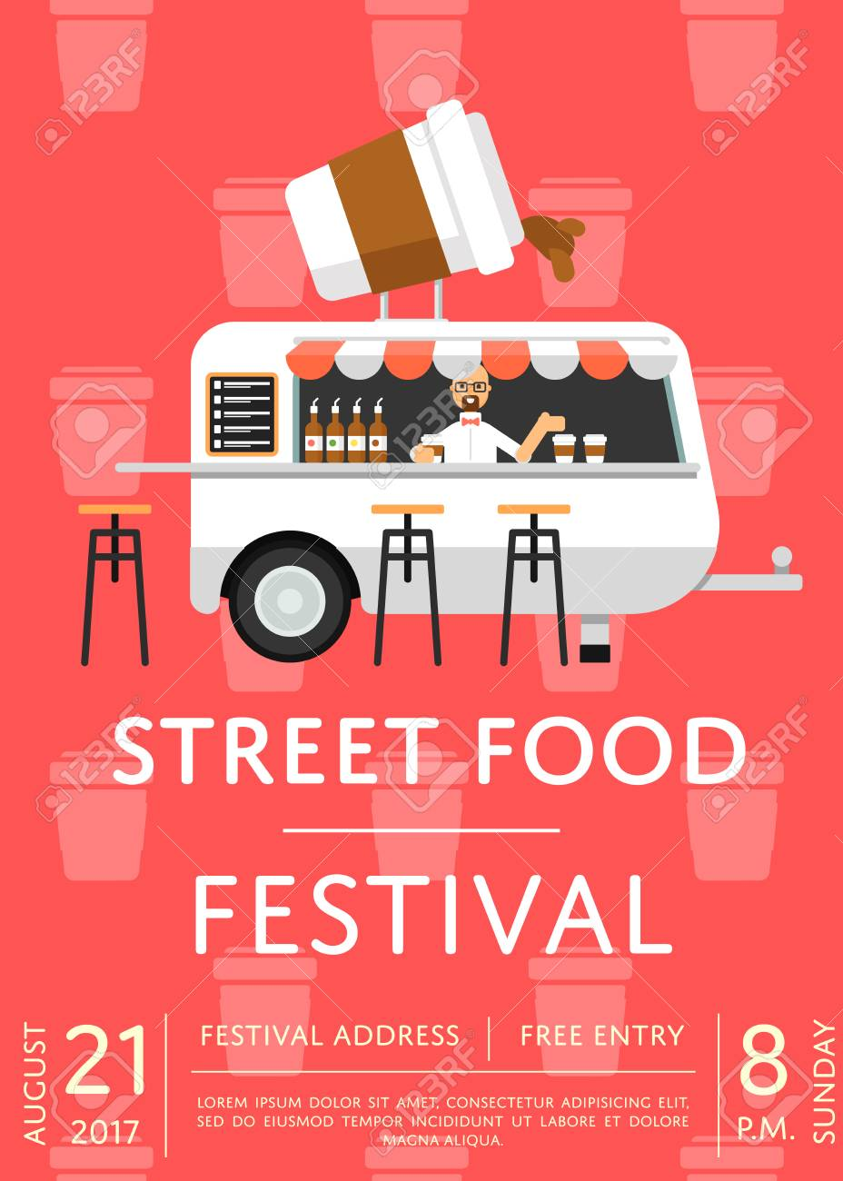 Food Truck Festival Invitation In Flat Style Culinary City Event - Food truck flyer template