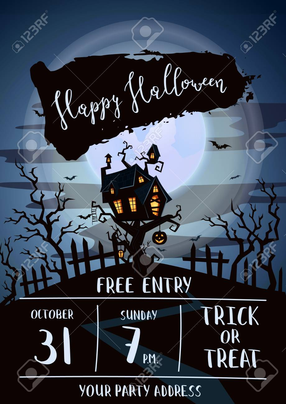 happy halloween party banner with spooky castle stock vector 87042158