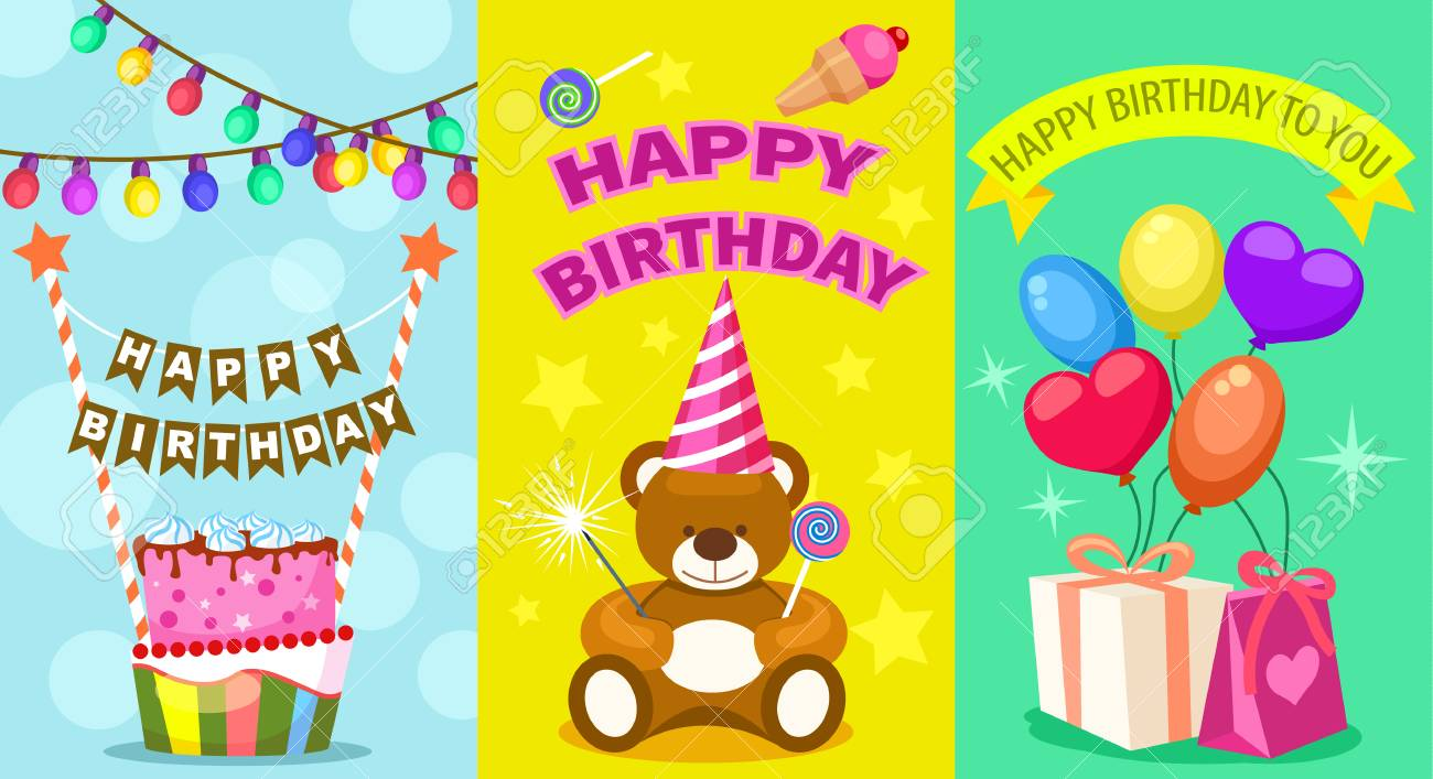 Happy Birthday Kids Postcard Set Holiday Congratulation Greeting Cards With Cake Teddy