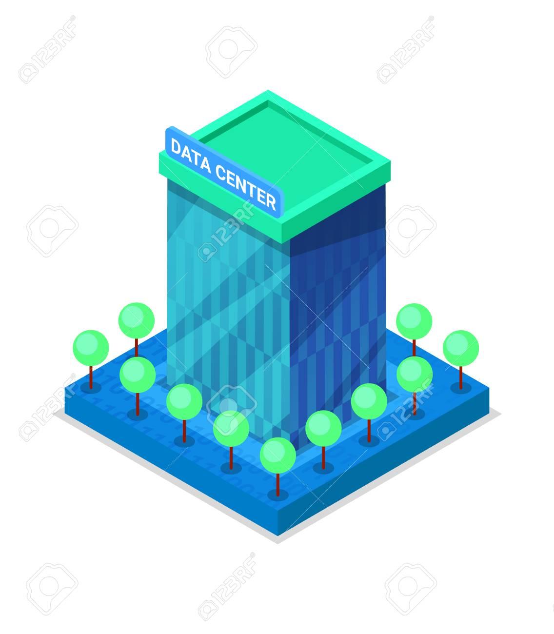 Modern data center building isometric 3D icon. - 91972971