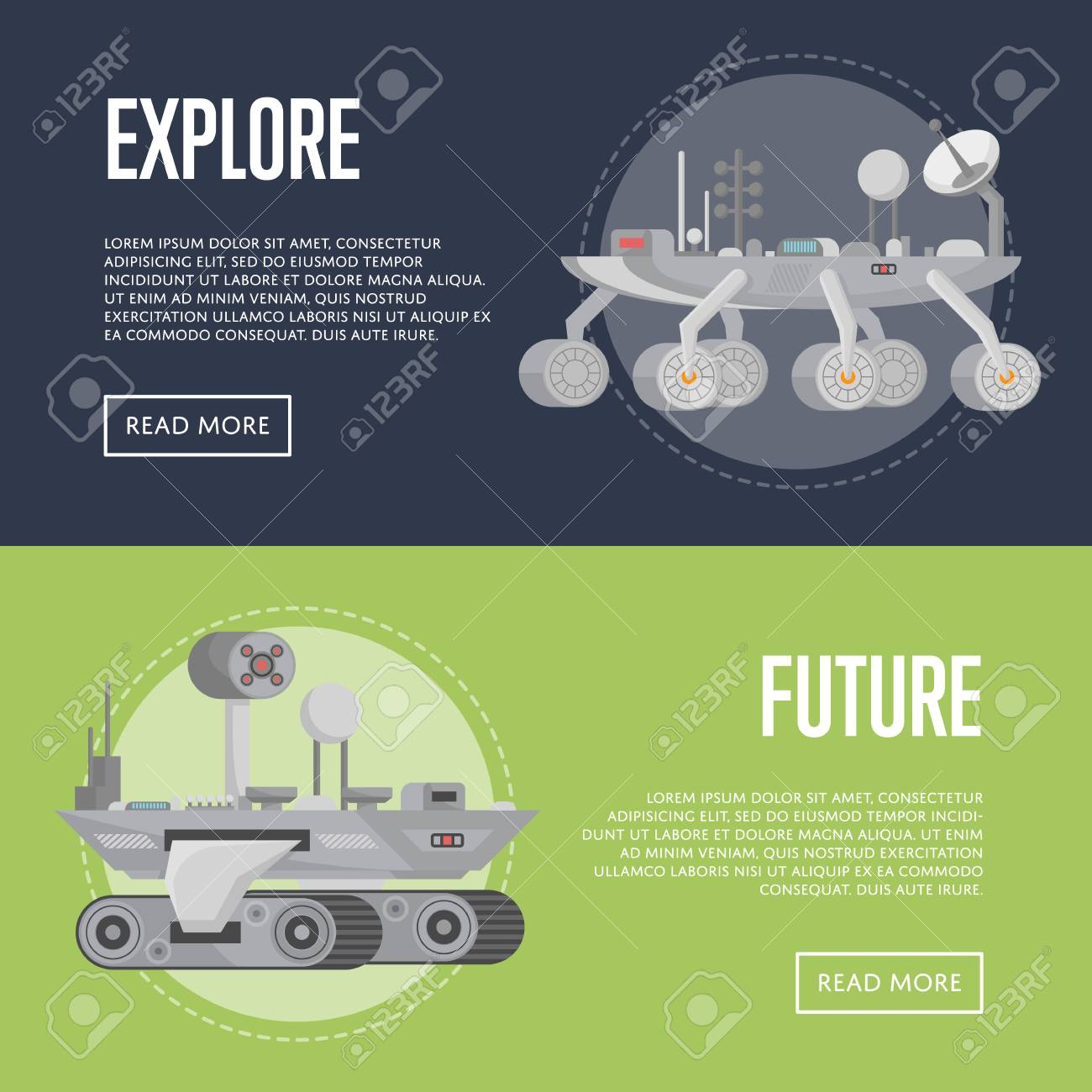 Planet exploration flyers with research vehicle  Robotic space