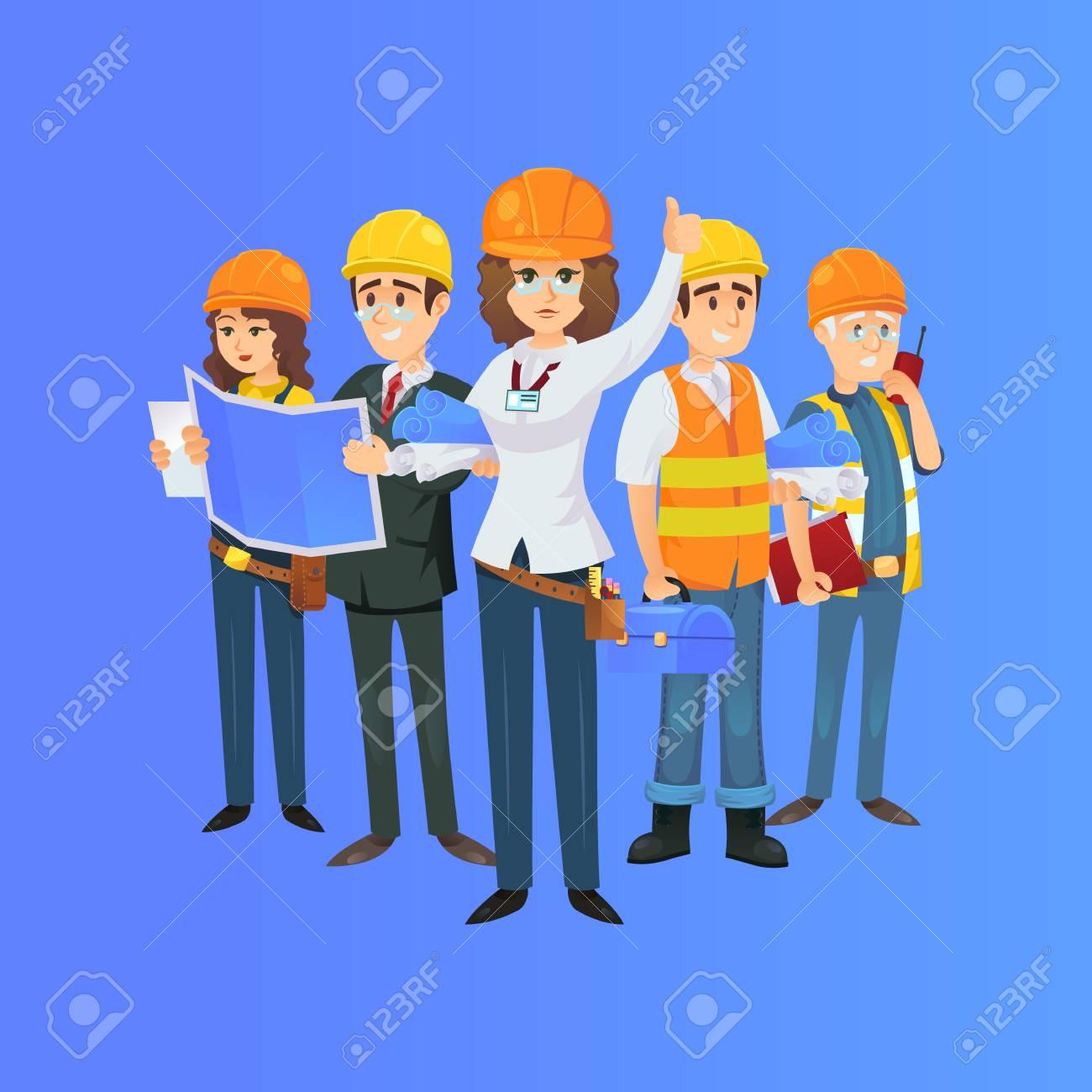 Construction worker team in safety helmets engineer architect construction worker team in safety helmets engineer architect with blueprint builder foreman malvernweather Choice Image