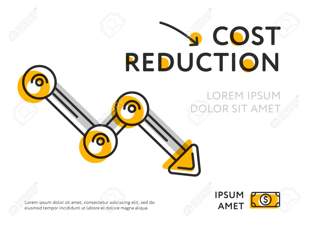 Flat design of minimalist graph showing cost reduction isolated on white. - 98970128