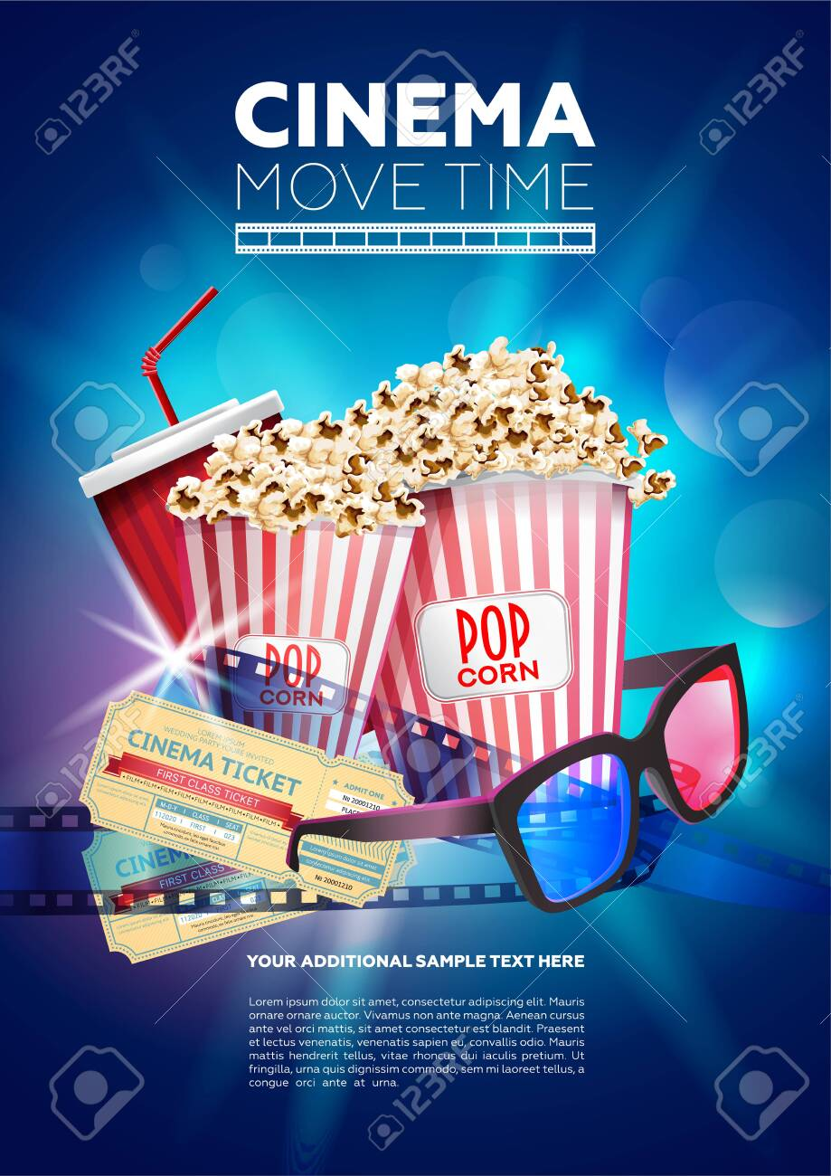 Bright multicolored poster showing Cinema movie time with image of popcorn and glasses with tickets - 121828219