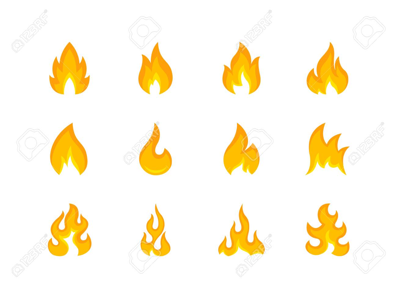 Collection of multicolored shapes of flame - 126581362