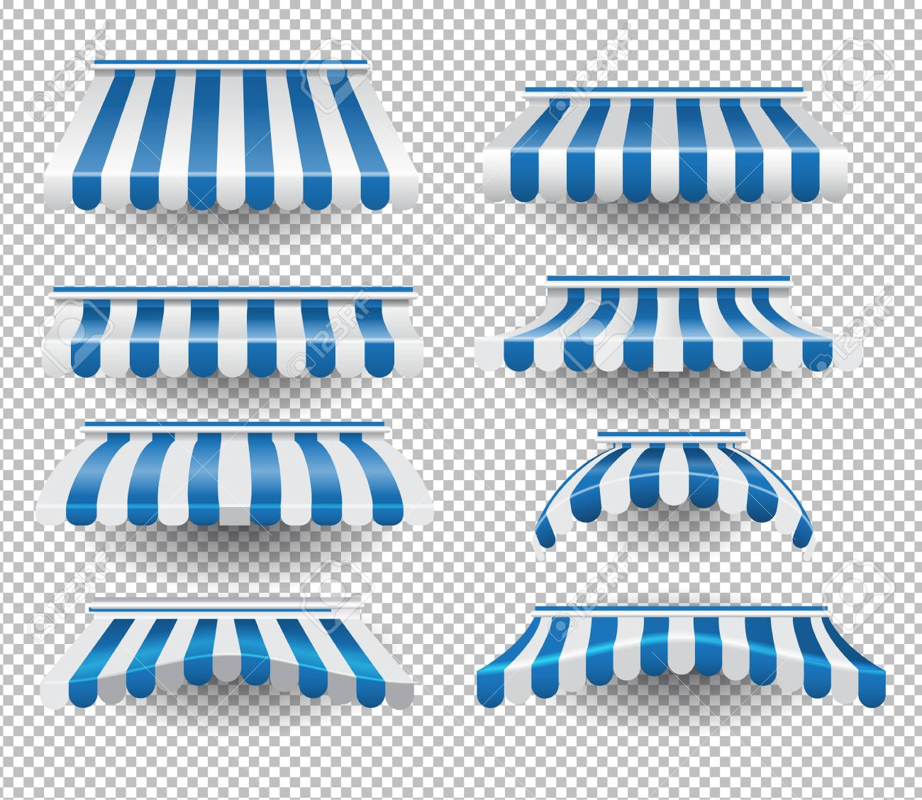 Vector set of white and blue colored striped tents of different shapes on transparent background - 111654805