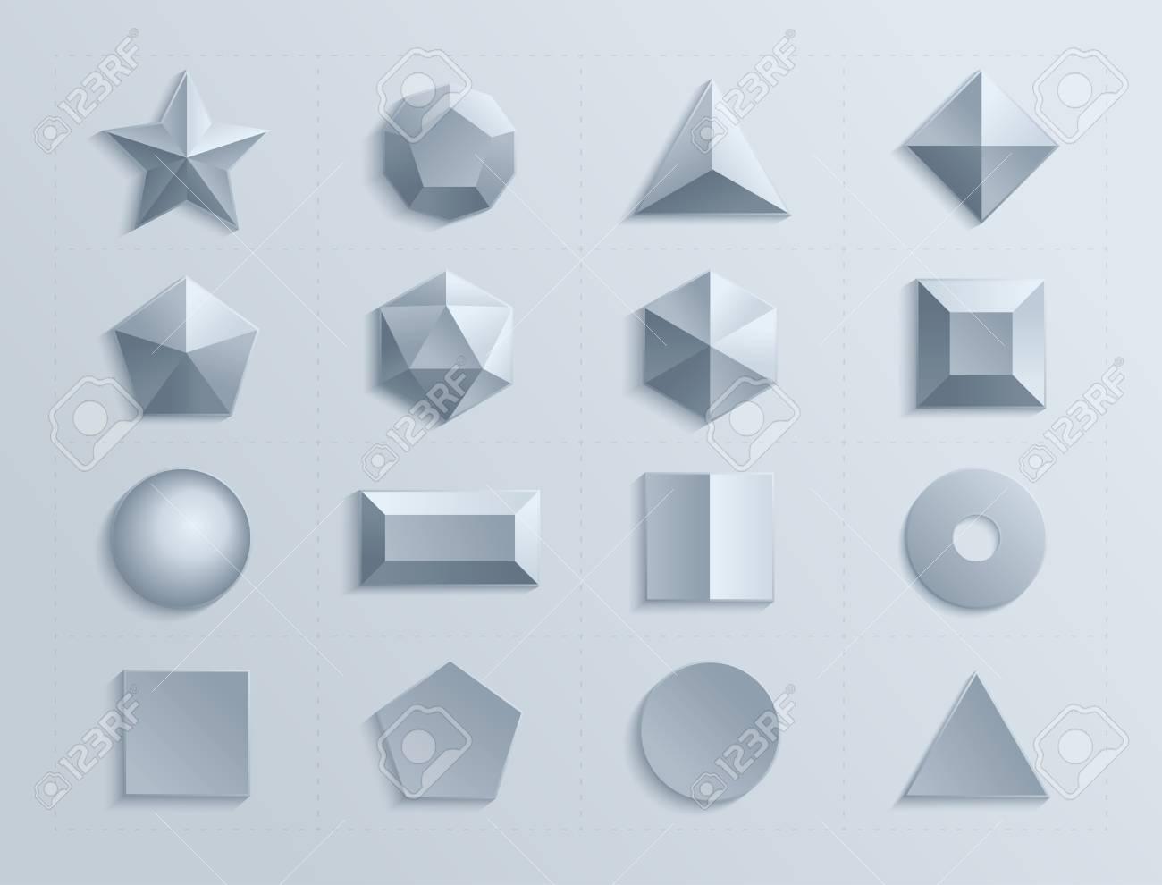3d shapes template realistic with shadow  Geometric shape figure