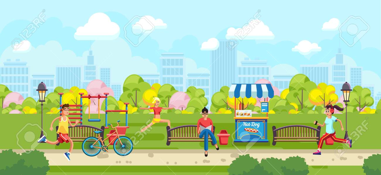 View Of Colorful Cartoon Park With People Doing Sports On Urban Royalty Free Cliparts Vectors And Stock Illustration Image 122097205