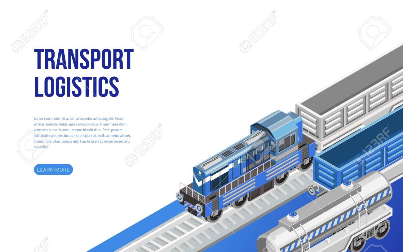 Train on railroad near transport logistics description