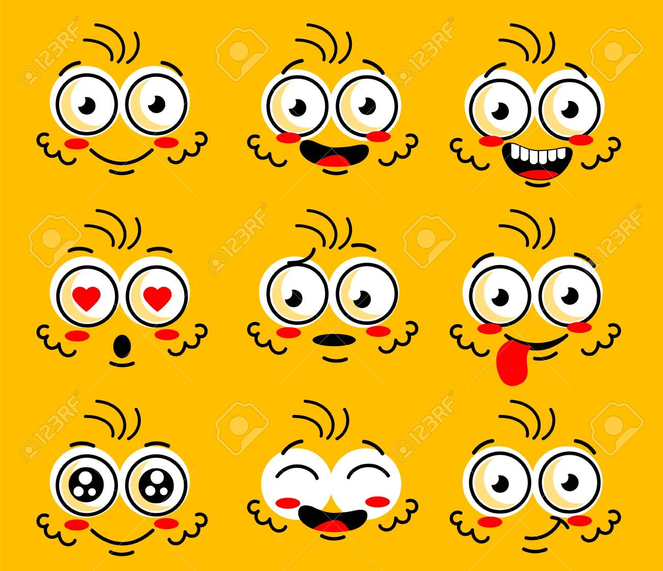 Cartoon face character. Funny face parts with expressions emotion eye Comic doodle smile face, angry, sad, cute and smiley eye. Cartoon faces expressions set isolated on yellow background. - 147277849