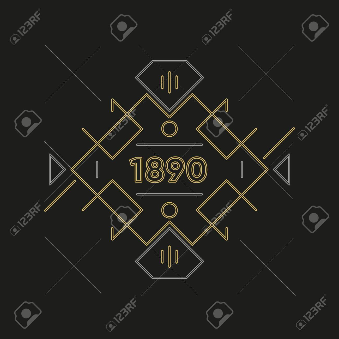 Art deco logo design. Premium golden frame - 147887701