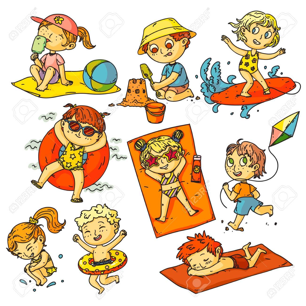 Kids summer vacation. Children beach activities set. Happy kids people swimming in ocean, sunbathing, surfing, building sand castle, flying kite collection. Childhood summer vacation activities - 148299225