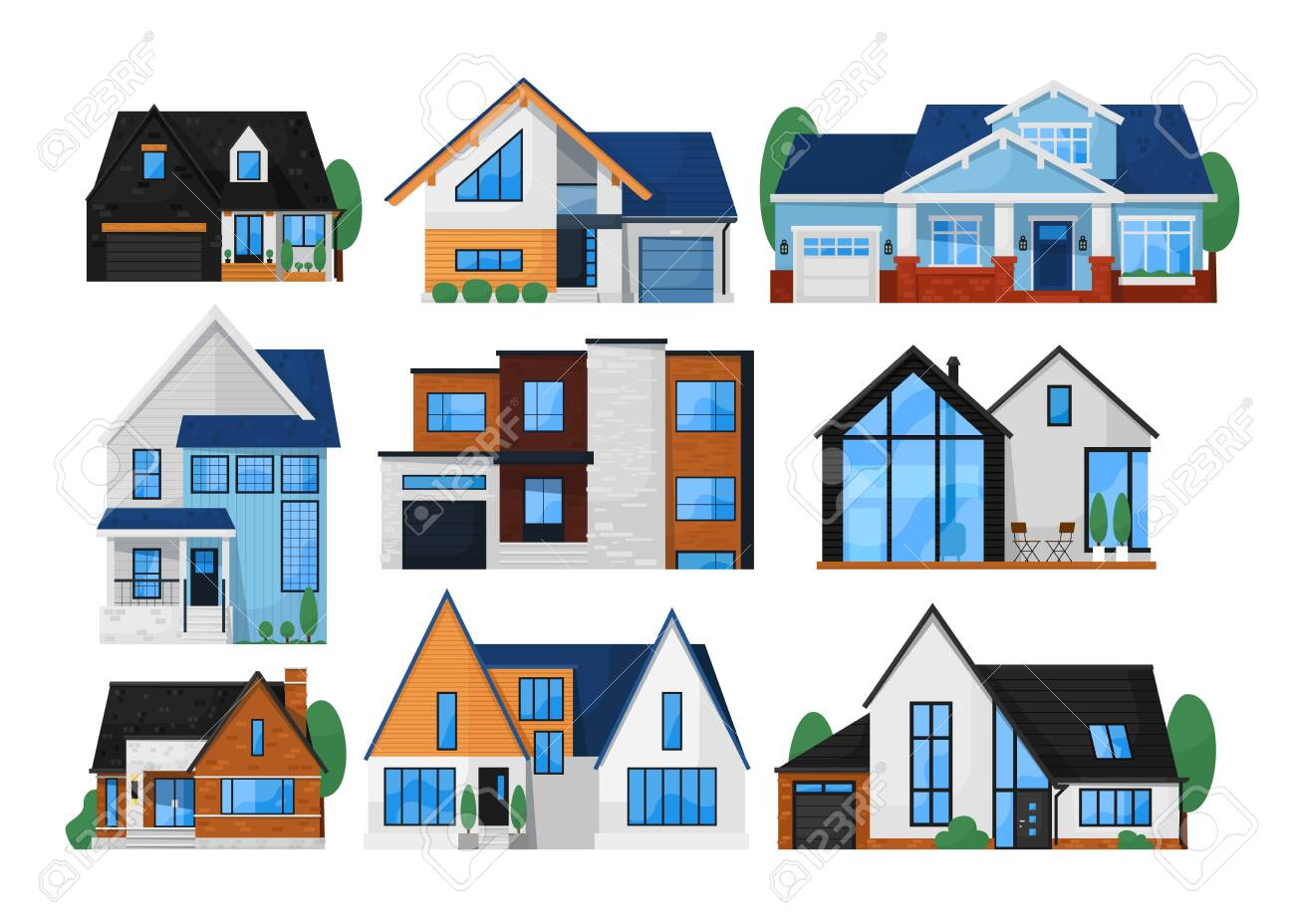 House exterior front set. Isolated residential city building icon. Modern cottage house exterior front view collection. Vector home architecture - 151373534