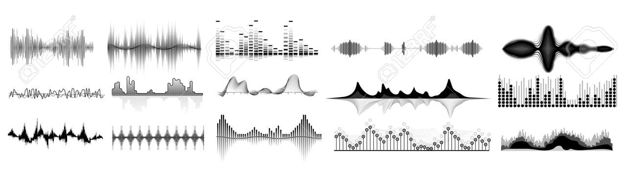 Sound waves icon set. Isolated audio sound wave icons. Black abstract pulse frequency waveform design collection on white background. Music equalizer digital technology illustration - 153655506