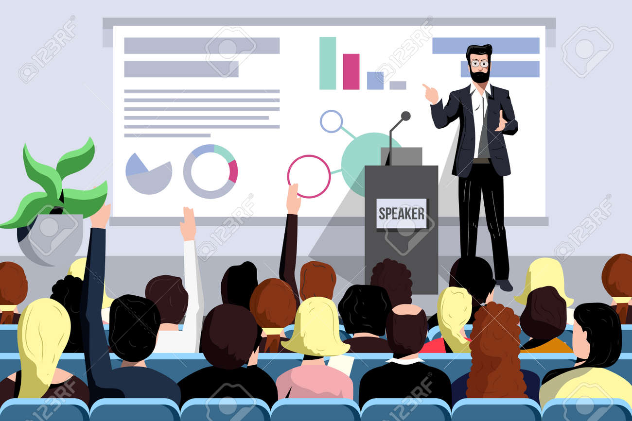 Business seminar speaker does presentation front of audience - 167758039